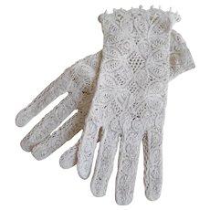 Vintage Cotton Lace Summer/ Wedding Gloves - Red Tag Sale Item
