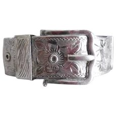 English Sterling Silver Chased Wide Buckle Bracelet - Red Tag Sale Item