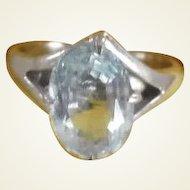 Vintage 10K White Gold Aquamarine Ring