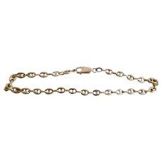 Vintage 14K solid Gold Puffy Mariner Link Bracelet