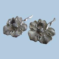 Antique Dollhouse Miniature Soft Metal Flower Candle Holders