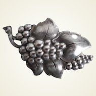 Vintage 1940-50's Big Sterling Silver Grapes Pin