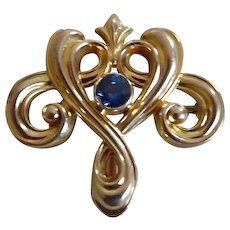 Antique 14K Gold Sapphire Art Nouveau Watch Pin Whiteside & Blank