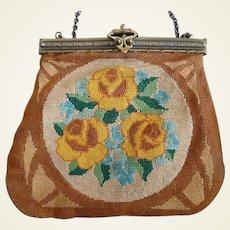 Vintage Arts And Crafts Era Petite Point Purse