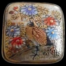 Antique Japanese Satsuma Stick Pin with Birds and Flowers - Red Tag Sale Item