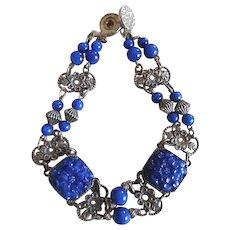 Art Deco Era Molded Lapis Glass Fancy Link Bracelet