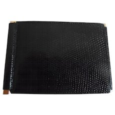 Vintage Dunhill France 1960's Man's Black Lizard Billfold Wallet
