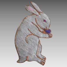 Early Vintage Chinese Hand Embroidered Silk Rabbit Applique