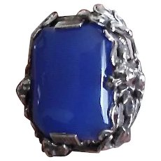 Antique Arts & Crafts Era Sterling Chalcedony Large Ring