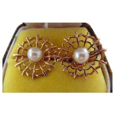 Beautiful 14K Gold Akoya Cultured Pearl Screw Back Earrings