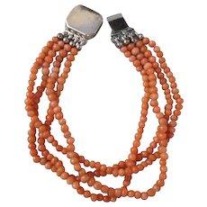 Antique Victorian Multi Strand Salmon Color Coral Bead Bracelet