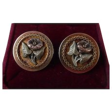 Antique Victorian Two Tone Gold Filled Screw Back Button Earrings