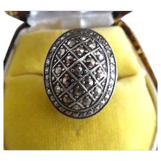 Vintage Art Deco Sterling Silver Marcasite Ring