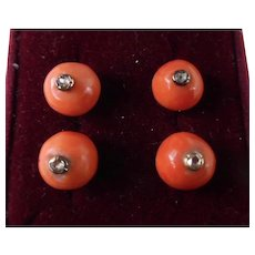 Antique Victorian Set of 4 Salmon Coral & Diamond Buttons - Red Tag Sale Item