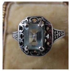 Vintage Sterling Silver Blue Topaz Filagree Ring