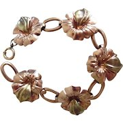 Vintage 1940's Retro 2 Tone Gold Plated Hibiscus Link Bracelet