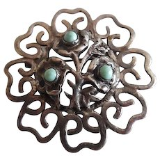 Early Vintage Mexican Sterling Turquoise Floral Pin