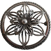 Vintage Sterling Silver Flower Pin Signed Beau