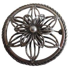 Vintage Sterling Silver Flower Pin Signed Beau