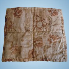 Little Victorian Hand Made Reversible Dolly Quilt In Tans & Browns