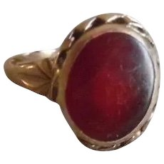 Vintage 10K Fancy Set Carnelian Ring