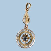Antique Edwardian 10K White & Yellow Gold Sapphire Paste Lavalier Pendant