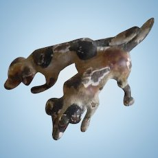 Vintage Tiny Vienna Cold Painted Bronze Dollhouse Dogs