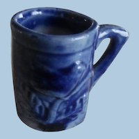 Vintage Miniature Dollhouse Blue Bird Pottery Mug
