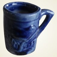 Vintage Miniature Dollhouse Blue Bird Pottery Mug