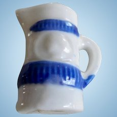 Vintage Miniature Dollhouse Blue & White Cameo Pitcher