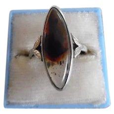 Vintage Sterling 10K Agate Ring Signed UNCAS
