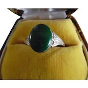 Vintage Sterling Silver Chalcedony Egyptian Revival Ring