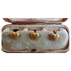 Antique Victorian 14K Solid Gold Heart Shirt Stud/Buttons Original Box
