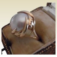 Vintage 14K Yellow Gold Made' Pearl Ring With Florentine and Glossy Finish