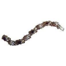 Antique Austro-Hungarian Silver Gold Wash Garnet Natural Pearl  Enamel Bracelet