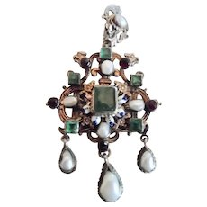 Antique Austro Hungarian Gilt Silver Emerald Pearl Garnet Mythical Pendant