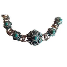 Antique Austro-Hungarian Silver Gold Wash Turquoise Natural Pearl  Bracelet