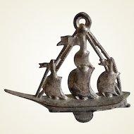 Antique White Metal Dollhouse Miniature Sailing Ship