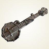 Vintage White Metal Dollhouse Miniature Banjo