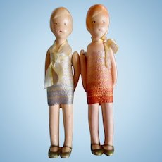 1920's Pair of German Bisque Flapper Dolls