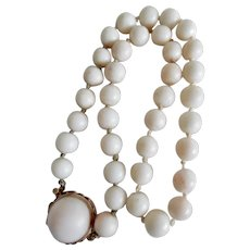 Exquisite 1960's Angel Skin Coral Bead Necklace 14K Clasp