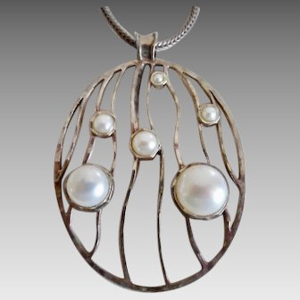 Vintage Sterling Cultured Pearl Pendant Necklace