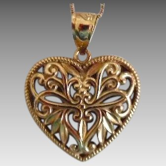 Vintage 14K Yellow & White Gold Reversible Heart Necklace