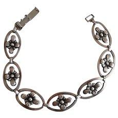 Vintage 1950's Sterling Silver Floral Link Bracelet