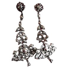 1920's Art Deco Extremely Long Marcasite Dangle Screw Back Earrings