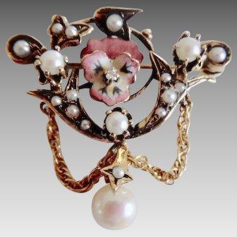 Antique Victorian 18k Natural Pearl Diamond Enamel Pansy Pin/Pendant