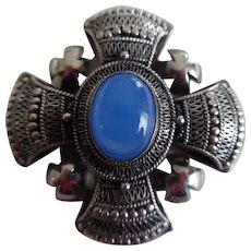 Vintage 950 Sterling Silver Chalcedony Maltese Cross Pendant/Pin
