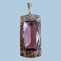 Antique Edwardian Sterling Amethyst Glass Marcasite Pendant Necklace
