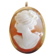 Vintage Italian 18K 750 Yellow Gold Carved Cameo Pin/Pendant