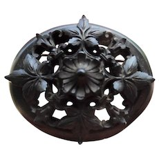 Large Antique Victorian Carved Whitby Jet Mourning Pin